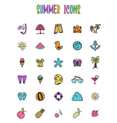 set of summer colored icons in a cartoon style vector image