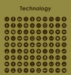 Set of technology simple icons vector