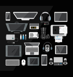 set of various hi-tech computer communication and vector image