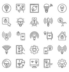 smart bulb outline icons set led wi-fi bulbs vector image