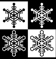 snowflake symbols icons simple black white set 10 vector image