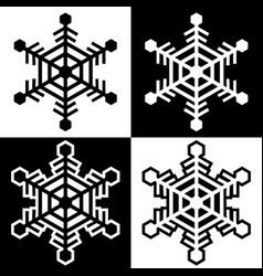 snowflake symbols icons simple black white set 10 vector image