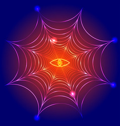 spider web cobweb with fire eye vector image