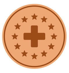 starred medical cross bronze coin vector image vector image