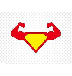 superhero icon strong man icon with halftone dots vector image