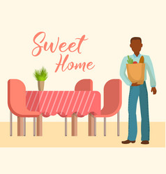 sweet home interior living room with table vector image