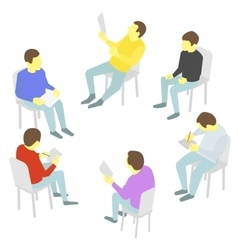 Talks Group of business Five people team meeting vector image
