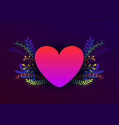 trendy happy valentines day with plants and vector image