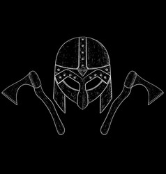 Viking helmet and axes hand drawn sketch on black vector