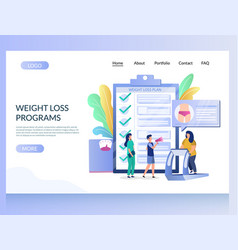 Weight loss programs website landing page vector