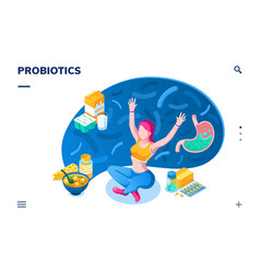 Woman and probiotics products for smartphone app vector