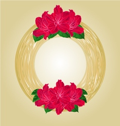 Wreath with red rhododendrons greeting card vector image