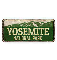 Yosemite national park vintage rusty metal sign vector