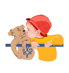 Young boy kid kissing a dog colorful red and vector