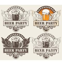 Beer hobeer and wings vector