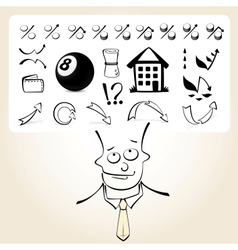 Doodle businessman with icon thoughts vector image vector image