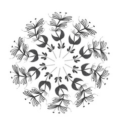 rustic emblem leaves plants icon vector image vector image