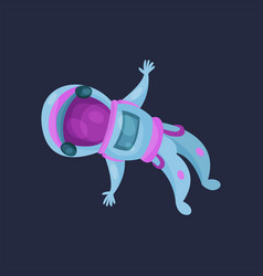 astronaut character flying in space cartoon vector image