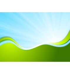Blue and green wavy abstract background vector image vector image