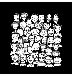 Group of people sketch for your design vector image vector image