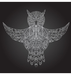 Ornamental hand-drawn owl vector image vector image