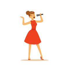 beautiful woman singer in red dress singing with vector image