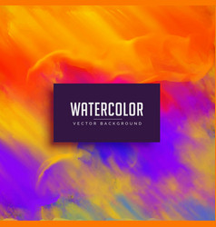 Bright watercolor background with ink flowing vector