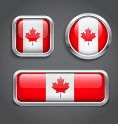 Canada flag glass buttons vector