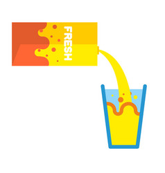 fresh juice packing and glass pour yellow liquid vector image vector image