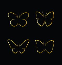 golden butterfly on black background insects vector image vector image
