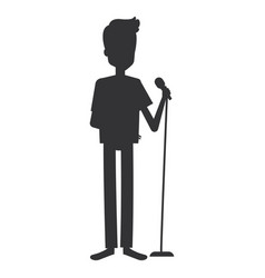 man singing with microphone vector image vector image