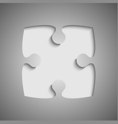 one grey piece flat puzzle jigsaw - vector image vector image