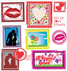Set of Love Stamps vector image