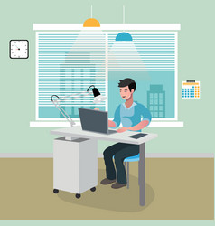 businessman sitting in office with laptop vector image vector image