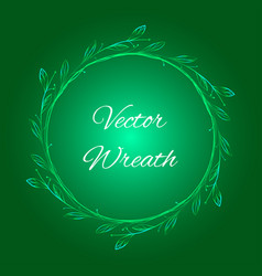 green christmas background with wreath vector image vector image