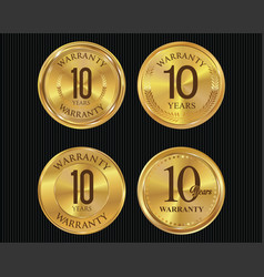 10 years warranty golden labels collection vector image
