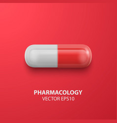 3d realistic red medical pill icon closeup vector
