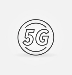 5g circle outline icon - cellular network vector