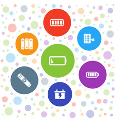 7 battery icons vector