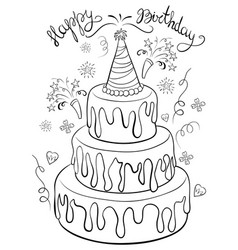 Admirable Birthday Cake Line Drawing Vector Images Over 760 Funny Birthday Cards Online Alyptdamsfinfo