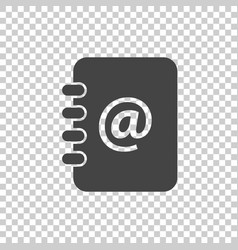 Address book icon email note flat on isolated vector