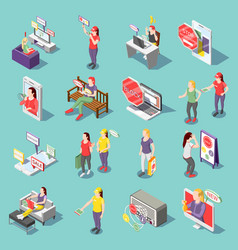Annoying advertisement isometric icons vector