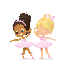 Ballerina girl friend character cute couple set vector