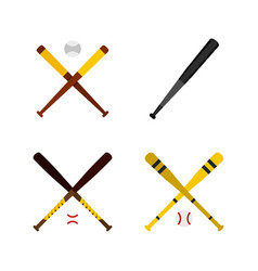 Baseball bat icon set flat style vector