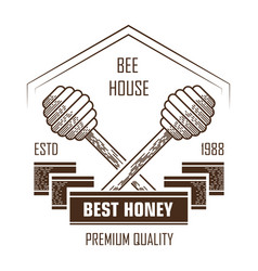 bee house isolated icon honey product and apiary vector image