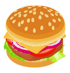 big burger icon isometric style vector image