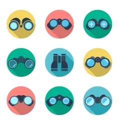 Binoculars flat icons set vector image