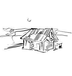 Black and white hand drawn house country house vector