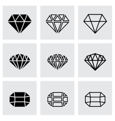black diamond icon set vector image