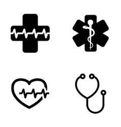 black medical symbol icons set vector image